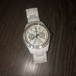 White fossil watch- needs new battery!
